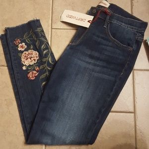 Driftwood Embroidered Distressed Skinny Jean